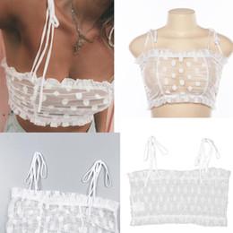 12da67c7528 off white ties 2019 - Ruffles Dot Lace Perspective Off Shoulder Tie  Spaghetti Strap Sexy Crop