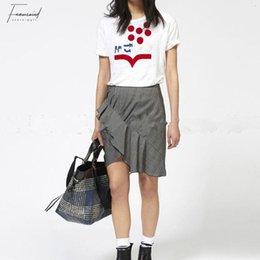 2019 schwarze weiße leinenkleidung Frau, die Kleidung aus 100% Leinen Weiß-Schwarz-T-Shirt Frauen Letter Print Short Sleeve-Sommer-T-Shirt Drop Shipping günstig schwarze weiße leinenkleidung