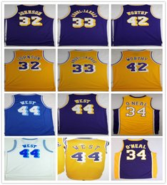 Universidad de baloncesto cosida Magia 32 Johnson Jerseys Kareem 33 Abdul Jabbar James 42 Digno Jerry 44 West Shaquille 34 ONeal O Neal Jersey desde fabricantes