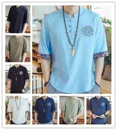 camisas azules de china Rebajas Camiseta 2019 Hombres Moda de Verano de Alta Calidad Gris Azul Blanco Lino de manga corta en blanco Estilo chino Fácil ocio camiseta