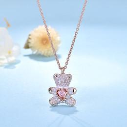 розовые золотые подвески Скидка Swarovski Классического дизайнера ювелирных изделий Розового австрийский кристалл Cute Bear ожерелье гальванического 18K Real Gold Никогда не выцветание