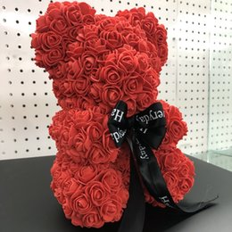 dessin d'art populaire Promotion Rose Ours Artificielle Romantique Coffret Cadeau Rose Fleur Ours En Peluche Mères Jour Cadeau Mignon Décorations Main Fleur Ours DH01010