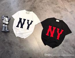 diseño de la camiseta Rebajas 19ss lujoso diseño de marca NY bordado manga corta algodón camiseta hombres mujeres transpirable moda Streetwear al aire libre camisetas