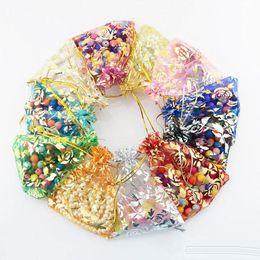 bolsos del favor de borgoña Rebajas 100 unids / lote lujo boda joyería del favor de la Navidad de color rosa caramelo de organza bolsas de regalo bolsas de caramelo bolsas de embalaje bolsas