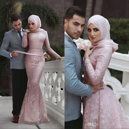 Rose Dentelle Peplum Wear Robes De Soirée De Bal 2019 Manches Longues Dubai Arabe Sirène Longueur De Plancher De Soirée De Soirée Robes Formelles ? partir de fabricateur