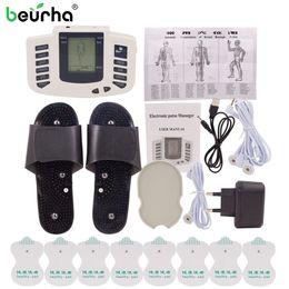Dez agulhas de estimulador muscular on-line-Beurha Massageador Elétrico Estimulador Muscular Botão Terapia Russa Dezenas de Pulso Acupuntura Massagem Corporal Relaxar Cuidados 16 Almofadas