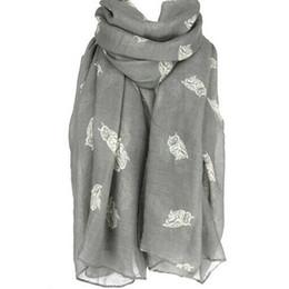 Canada Nouvelle mode hiver écharpe Lady longues écharpes femmes long mignon hibou impression écharpe Wraps châle doux foulards en trois couleurs supplier cute winter scarf women Offre