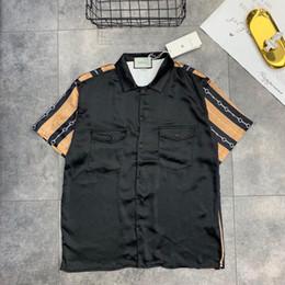 2019 новый мужской дизайн 2019 внешней торговли мужские рубашки ретро дизайнер повседневная блузка отворотом провода сплошной цвет комфорт дыхание весна популярный логотип письмо печати топы