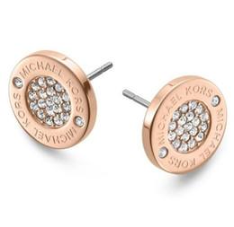 Canada 2019 NOUVELLE mode Diamant Exquis Diamant Rond Lettre Goujons Mode Simple 18K Or Rose Argent Dormeuses 3 choix de couleurs cheap exquisite earrings Offre