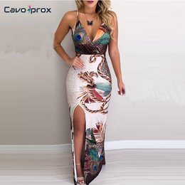 plunge maxi dress sexy Promo Codes - Women Peacock Feather Printed Thigh Slit Slip Spaghetti Strap Plunge V Neck Dress Maxi Dress Sexy Formal Elegant Party