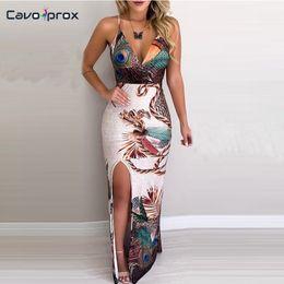 Alças de coxa on-line-Mulheres Pena Pavão Impresso Coxa Fenda Slip Spaghetti Strap Plunge Vestido Com Decote Em V Maxi Vestido Sexy Formal Elegante Do Partido