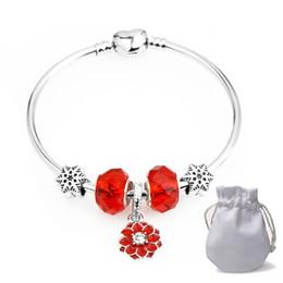 92b2c5afaa3d 2019 diy cuentas de vidrio Diy encantos del regalo pulseras Fit Pandora  Ladies Red Crystal Glass