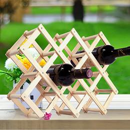 2019 boissons au vin rouge Casier à vin en bois rouge 10 porte-bouteilles Support barre de présentoir pliant Casier à vin en bois alcool Neer Care Porte-bouteilles boissons au vin rouge pas cher