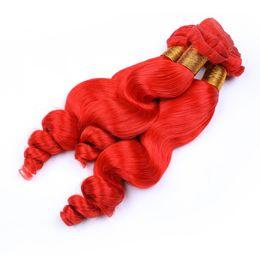Tejido ondulado rojo del cabello humano online-Ruby Color rojo Onda suelta Ondulado Cabello humano 3 Paquetes 100% Virgin Loose Curly Color Hair Weaves Exensions 3pcs doble Wefted