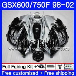 Gsxf verkleidungen online-Karosserie Für SUZUKI KATANA GSXF 600 750 GSXF750 98 99 00 01 02 292HM.0 GSX 750F 600F GSXF600 1998 1999 2000 2001 Verkleidung Hot Silvery black