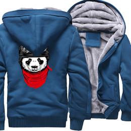 2019 sweat à capuche zippé Hoodies Hommes 2019 Hiver Polaire Marque Sweat Pour Hommes Plus La Taille 5XL Épais À Capuche Zipper Survêtements Cool Panda Hip Hop Vestes sweat à capuche zippé pas cher
