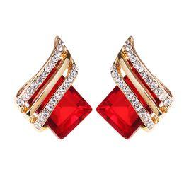 orecchini di diamanti rubino Sconti Orecchini a lobo con diamanti in cristallo di moda Orecchini a bottone con diamanti in argento sterling 925