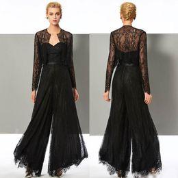 Комбинезон черная свадьба онлайн-Элегантный черный комбинезон Матери Невесты Брюки Костюмы Милая шея Свадебное платье для гостей с пиджаками Платья для матери больших размеров
