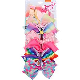 JOJO SIWA 5.6 pulgadas GRANDE Rainbow Unicorn Signature HAIR BOW con tarjeta y logo de lentejuelas bebé niña Niños Accesorios para el cabello pinza de pelo de moda desde fabricantes
