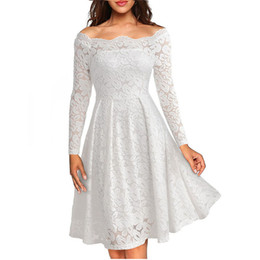 Женские платья с длинным рукавом с вырезом на шее Свадебная одежда Повседневные A-Line Сексуальное красное черное белое кружевное платье Плюс Размер S-3xl от