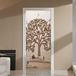 2019 tallas de la pared china Moderno Creativo 3D Estéreo Árbol Mural Wallpaper Salón Dormitorio Etiqueta de la Puerta Decoración de Arte PVC Autoadhesivo Impermeable Wallpaper