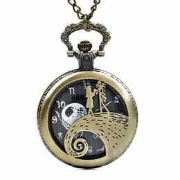 relógios de bolso de moda Desconto O Nightmare Before Christmas relógio de bolso Jack Skellington Tim Burton Filme Kid Toys Relógios Moda Black Quarzt Pocket Watch Presentes Item