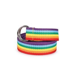rainbow women belt Promo Codes - Women's Double Ring Buckle Rainbow Strip Webbing Casual Wild Long Decorative Canvas Belt Waistband Fashion
