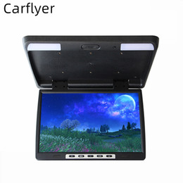 "lcd 15.4 Sconti Carflyer 15.4"" pollici Auto / Bus TFT LCD montato sul tetto Monitor Flip Down Monitor a 2 vie di ingresso video dvd connect"