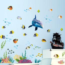 Murales oceaniche online-Adesivo murale cucina bagno impermeabile oceano acque profonde mare decorazioni per la casa adesivi pesci delfino decalcomania decorativa murale camera dei bambini
