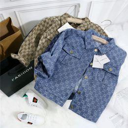 2019 estilo do exército da forma dos miúdos Crianças Designer Brasão Jacekts marca de moda letras Priend Meninas Meninos Moda Splice Denim Jacket Crianças Luxo Jackets Top Quality