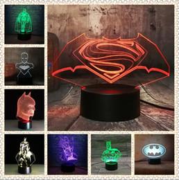 usb ir light Sconti Marvel 3D Super Hero DC Batman Action Figures IR USB Touch Base + Telecomando 7 Colori Gradient Night Light Ragazzi Uomo Compleanno Giocattoli di Natale Regalo