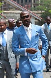 blazer blu cielo per gli uomini Sconti Abiti da uomo blu cielo doppio petto matrimonio due pezzi sposo (giacca + pant) smoking business formale smoking