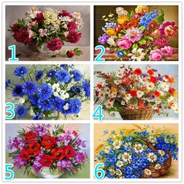 diamond sticker painting Coupons - 5D DIY Diamond Flower Cross Stitch Diamond Mosaic Diamond Wall Sticker Vase Suitable for Home Decor