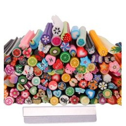 Gel uñas arte diseños de etiqueta online-HTHL-150pcs 3D Cute Designs Nail Art Clay Canes Sticks Stickers Rods Gel Tips Manicure Decoration + Blade