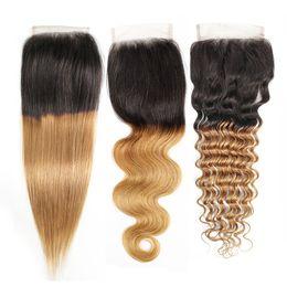 средние перуанские прямые волосы Скидка Омбре мед блондинка 4x4 кружева закрытия бразильские девственные человеческие волосы цвет 1B 27 перуанский Индийский малайзийский прямая волна тела глубокая волна 8-20 дюймов