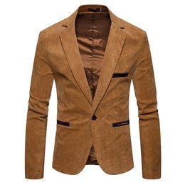 куртка мужская коричневая Скидка V Шеи С Длинным Рукавом Мужская Вельвет Блейзер Мода Одна Кнопка Сплошной Цвет Мужские Костюмы Куртка Весна Мужской Одежды