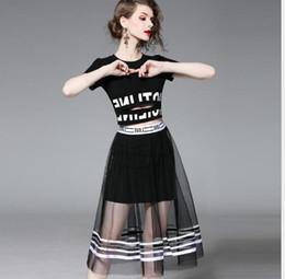 42d81fe516 Vestido de malla más barato Dos piezas Nueva falda larga Traje de moda Falda  Trend