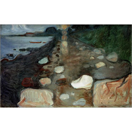 2020 plage d'art moderne abstrait Edvard Munch Paintings Moonlight de haute qualité sur la plage, art abstrait moderne plage d'art moderne abstrait pas cher