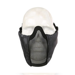 Schutzmaske militär online-Outdoor Half Face Untergesichtsschutzmaske Steel Net Mesh Maske Military Einstellbare Reiten Jagd Tactical 12 Farben