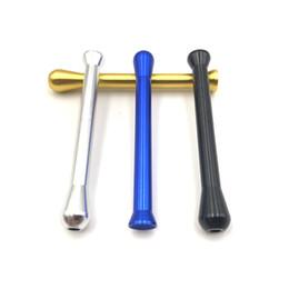 tubo in metallo Sconti Metallo portatile Sniffer Pippotto paglia 69 millimetri / 2.7in 4 di colore alluminio Snuff nasale Tubo Tipo Etero Snuffer Bat proiettile tubo di fumo Accessori