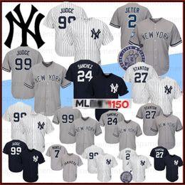 Babe ruth бейсбол джерси онлайн-Янкиз 99 Аарон судья бейсбола 150-2 Дерек Джетер 3 Babe Ruth 27 Джанкарло Стэнтон Нью-Йорк 24 Gary Sanchez прошитой Logos
