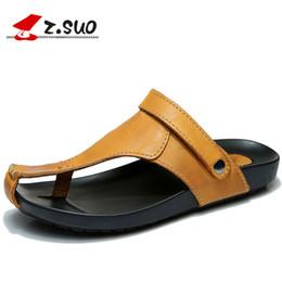 sandali della cintura della caviglia per gli uomini Sconti Z.Suo Brand Genuine Leather Buckle Strap Summer Men Sandali di alta qualità Casual Beach Shoes sandali classici da uomo giallo Q18920