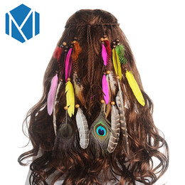 peacock hair band accessories Promo Codes - M MISM Girls Fashion Boho Colorful Feather Headband Festival Hippie Hair Band Accessories for Women Styling Peacock Headdress