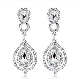 2019 regalos de boda de cristal baratos Pendientes de cristales brillantes Diamantes de imitación Pendiente de gota larga para mujer Joyería nupcial Regalo de boda para damas de honor En stock Venta entera barata
