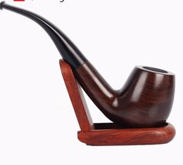 Tubo de tabaco curvado preto on-line-Venda direta feito à mão black sandalwood pipe bend handle tobacco hole tubulação filtro núcleo acessórios