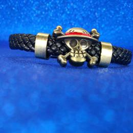 leder flagge armband Rabatt EINTEILIGES Schädel Armband Luffys Schiff Piratenflagge Schädel Leder Armbänder Armband Manschette Designer Armband Anime Schmuck Drop Ship 161059