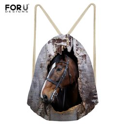 custom print backpack Promo Codes - FORUDESIGNS Drawstring Bag Women's Horse Printed Backpack Females Small Shopping String Pouch Kids Girls Logo Custom Bolsos