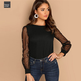 schwarze perlenbluse Rabatt Schwarze Frauen Blusen Perle wulstige Mesh-Hülsen-Damen-T-Shirts Elegante Damenmode Tops und Top