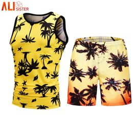 a781f743120f1 Alisister 2 Pieces Set Hawaiian Tank Top Shorts Mens Summer Beach Tracksuit  3d Print Sleeveless Vest Short Pants Suits Male discount mens tank tops 3d  print ...