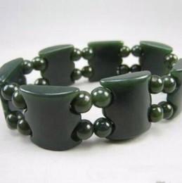 Porcellana del braccialetto 14k online-Natural hetian jade QingYu Catenaria a mano Fila a mano Lucky Stretch Elastic Bracelet Moda donna e uomo China Jewelry